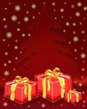 illustration of a stylized christmas tree with presents around it illustration