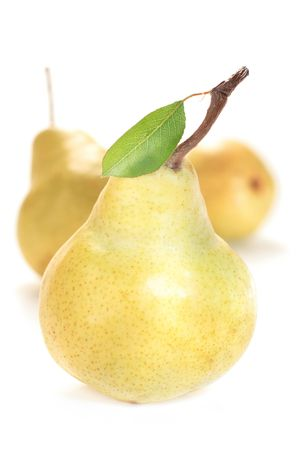 group of yellow, mature pears with leaves isolated on white background
