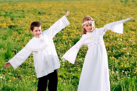 conscience: children in first holy communion, clear conscience Stock Photo