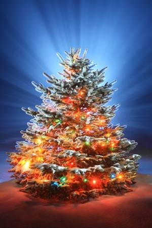 christmas tree on night background, christmas tree with colored lights Stock Photo