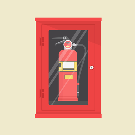 tool cabinet: Fire Extinguisher Cabinet Vector Illustration