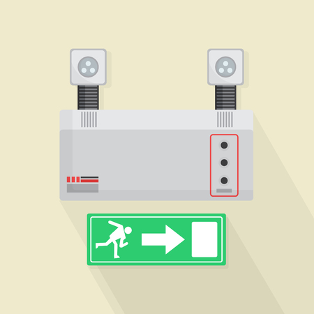 salidas de emergencia: Emergency Lights and Exit Door Vector Illustration