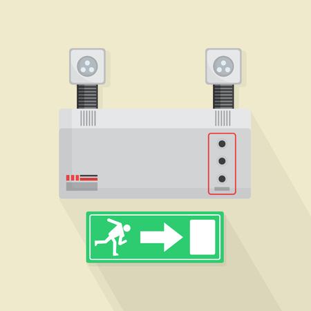 salidas de emergencia: Las luces de emergencia y la puerta de salida del vector Ilustraci�n