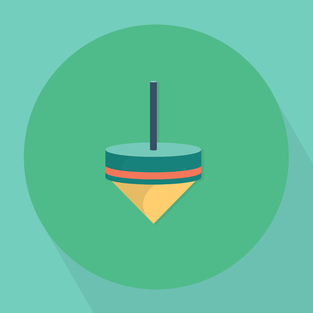 spin: Toy Top Spin Icon Flat Illustration Illustration