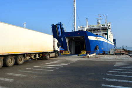 kavkaz: Loading vehicle ferry in the port of Crimea