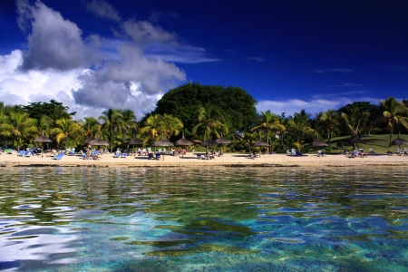 Beautiful sandy beach near the Cannonier Hotel in Mauritius