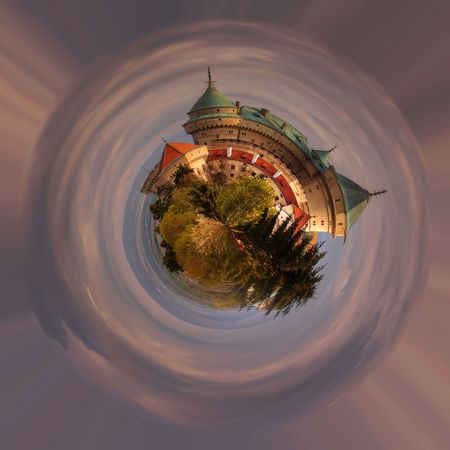 fish exhibition: A panoramic view of romantic castle at 360 degree, mini planet.