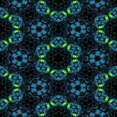 neon green: Abstract blue transparent texture with neon green lights made seamless