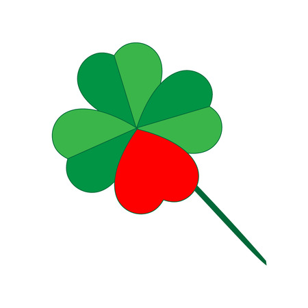 Green shamrock with red heart creating quatrefoil