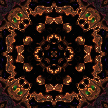 Abstract bronze metallic flower pattern with devil heads made seamless