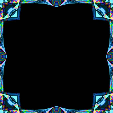 photographs: Colored abstract blue futuristic metal ornamental frame with rainbow splash for photographs or paintings