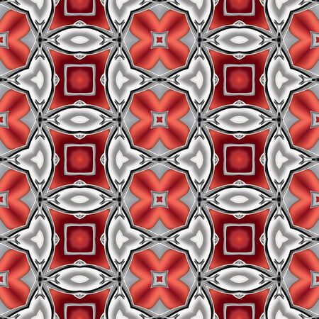 Abstract red chrome silver metallic geometric texture or background made seamless