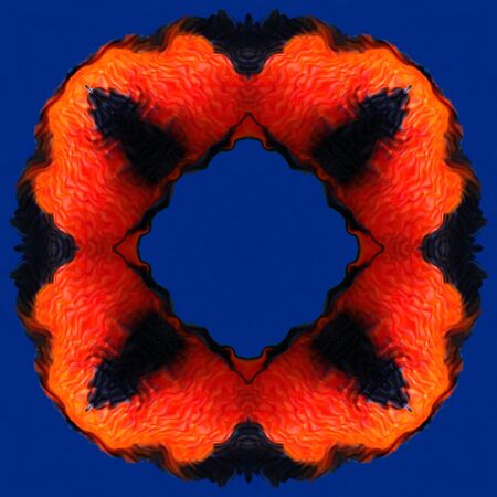 vivacity: Orange red flame in the frame pattern isolated on the blue background