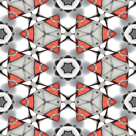 Abstract metallic red chrome geometric texture or background made seamless Stock Photo