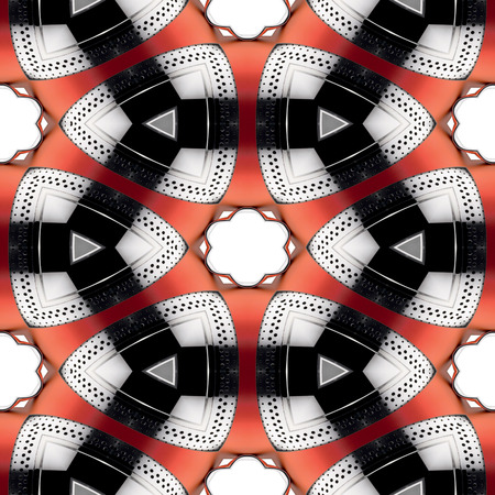 Seamless futuristic abstract black red and silver chrome metallic geometric texture or background