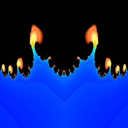 belch: Abstract fractal flames salient from blue plasma