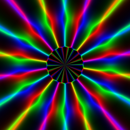 discharge: Colorful rainbow rays or discharge in circular pattern