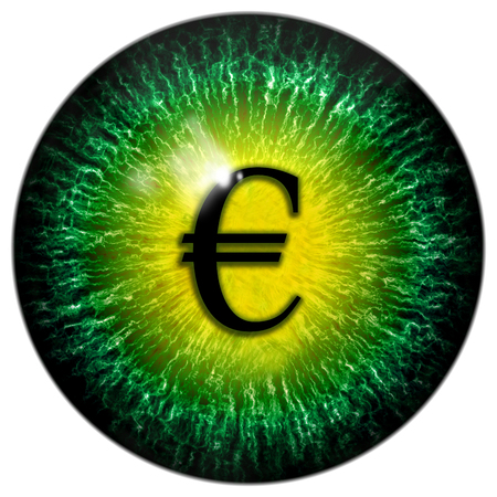 pupil: Green abstract mad business man eye with euro pupil