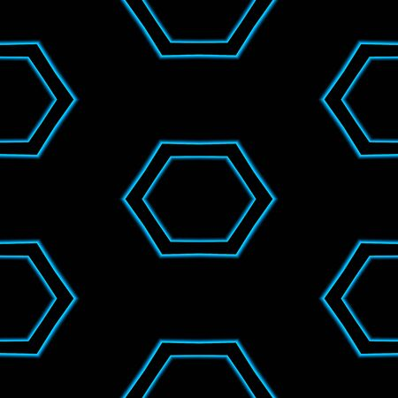 carpet and flooring: Seamless abstract blue hexagonal pattern isolated on black background