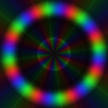 rgb: Colorful rgb lights in circular pattern with centripetal rays