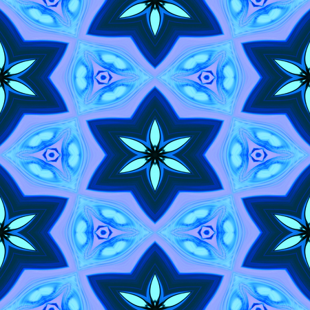 blue floral: Seamless abstract blue floral pattern or background Stock Photo