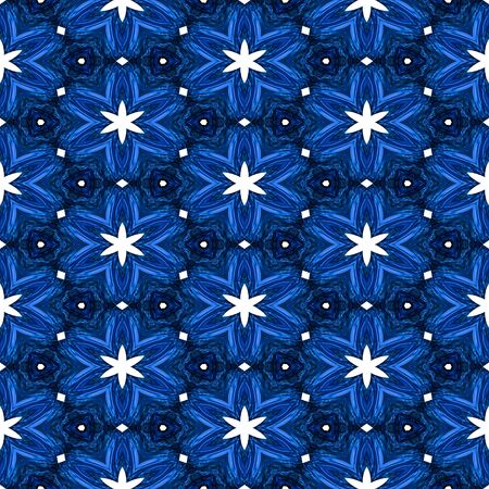 Abstract blue texture or background with white stars with Christmas look made seamless
