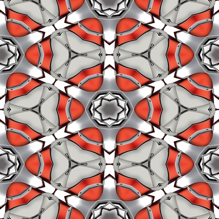 chromium: Abstract red metallic chrome geometric texture or background made seamless