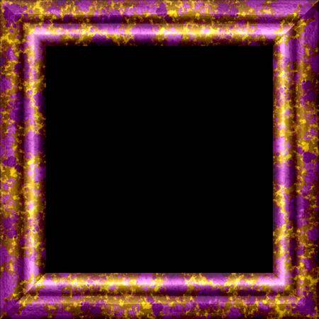 purple metal: Purple metal or wooden ornamental frame with golden splash