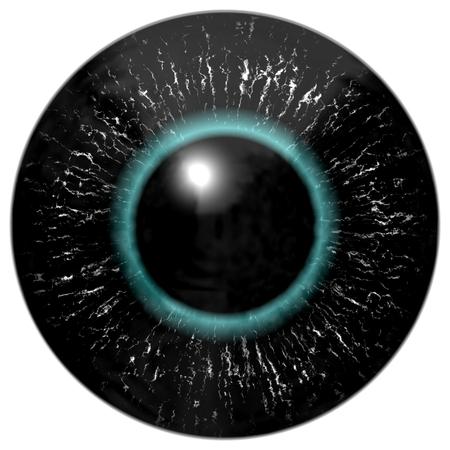 lentes de contacto: Negro extranjero, ave o reptil ojo con el círculo azul alrededor de la pupila