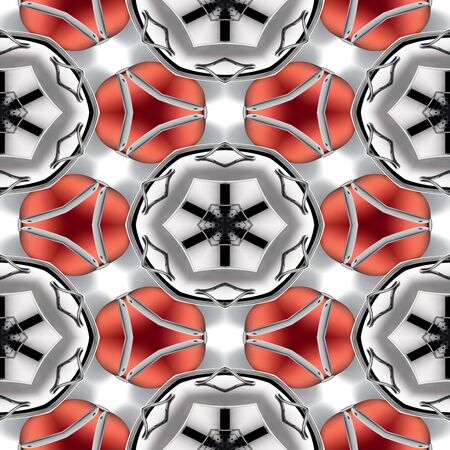 Seamless abstract chrome metallic red circular geometric texture or background