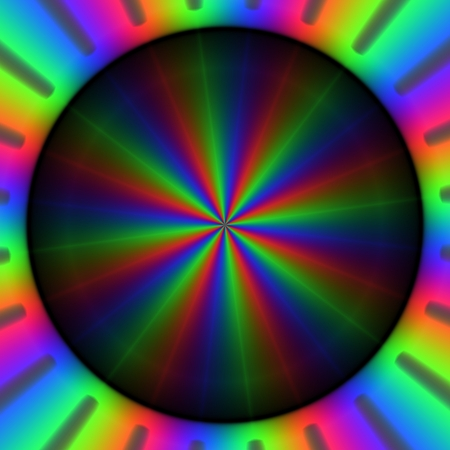 Colorful rainbow rays of lights in circular pattern