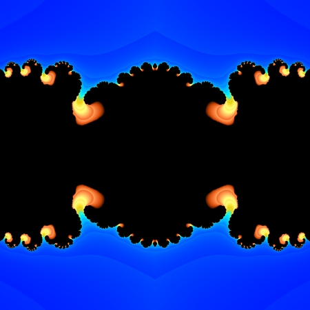 belch: Abstract fractal flames salient from blue plasma in black tunnel Stock Photo