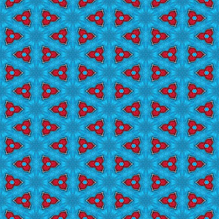Abstract seamless blue icy texture or background with red triangular pattern for Christmas decor