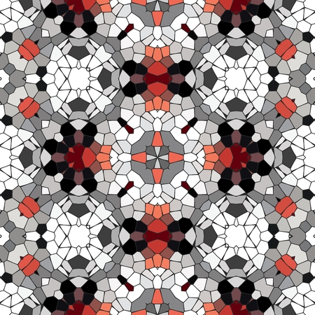 checkerboard backdrop: Kaleidoscopic mosaic red-black-white tile pattern made seamless Stock Photo