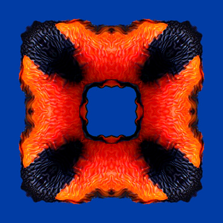 vivacity: Orange red flame frame pattern isolated on the blue background