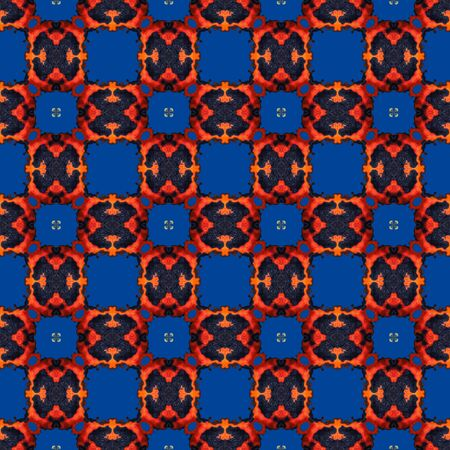 Abstract checky orange blue texture made seamless