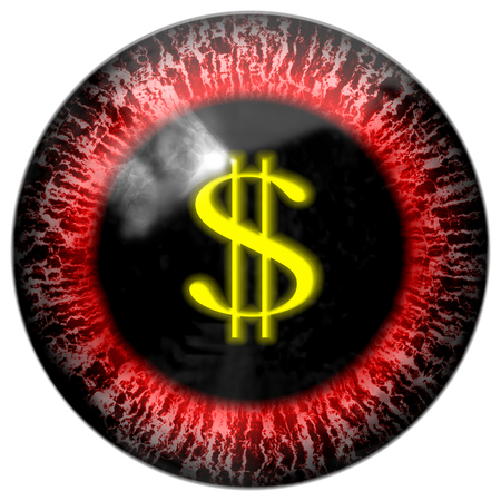 contact details: Red bloody abstract mad business man eye with dollar pupil Stock Photo