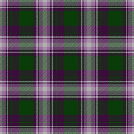 kilt: Traditional trendy Scottish green tartan pattern with violet stripes made seamless for kilt or bandana Stock Photo