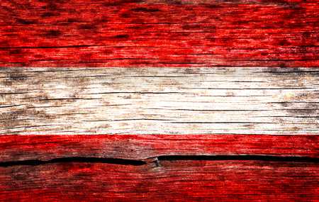 wornout: Austria flag painted on the old cracked wood with worn-out paint. Grunge look.