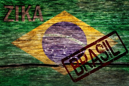 Brazil flag painted on the old cracked wood with word zika and Brazil indicating the the virus infection risk