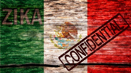 Mexico flag painted on the old cracked wood with word zika and confidential warning before the virus infection 版權商用圖片