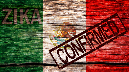Mexico flag painted on the old cracked wood with word zika and confirmed warning before the virus infection 版權商用圖片