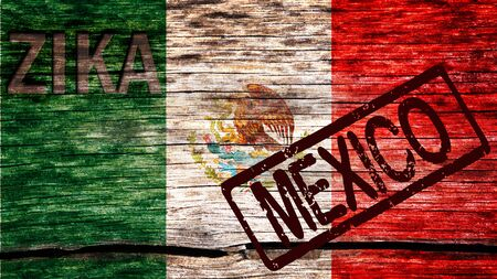 pandemic: Mexico flag painted on the old cracked wood with word zika and Mexico indicating the the virus infection risk