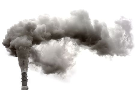 emissions: Dirty smoke on the white background, ecology problems