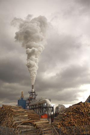 Burning wood making smoke with clouds