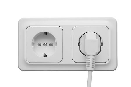 Outlet with power cord isolated on white background