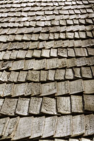 Wooden roof in perspective photo