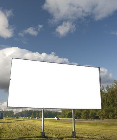 Billboard for advertisement on sky background