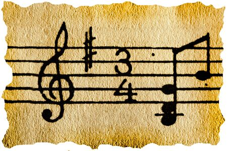 music notation: Music notation key on old retro paper Stock Photo