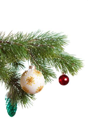 Christmas fir with decoration balls isolated photo